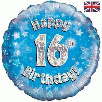 "Age 16 Happy Birthday Blue Holographic 18"" Foil Balloon"